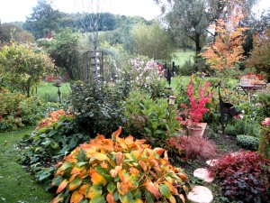 Vue sur une partie du jardin avec plusieurs pièces sculptées