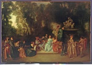 Récréation galante, toile de Watteau ( Berlin )