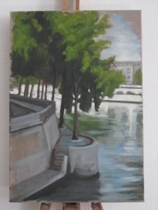 Vue de l'île St Louis par une des artistes, Caroline d'Avout