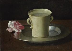 Coupe et une rose peint vers 1630