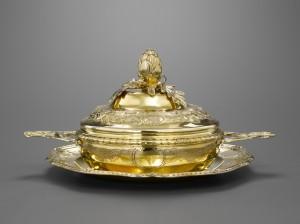 Bouillon et son présentoir en argent doré Strasbourg 1768