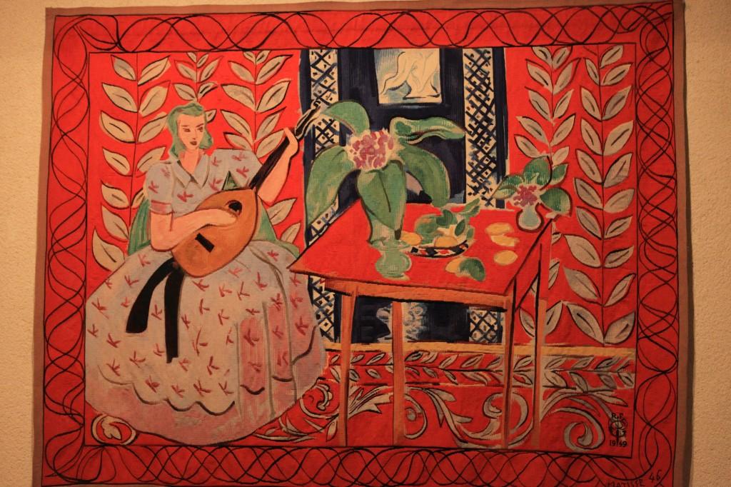 La femme au luth tapisserie de haute lisse d'après Matisse (manufacture des Gobelins)