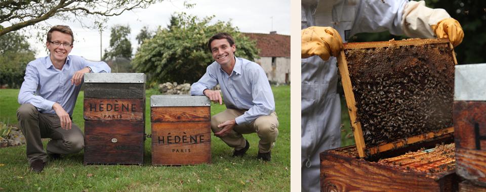 Les deux co-fondateurs d'Hédène et leurs ruches