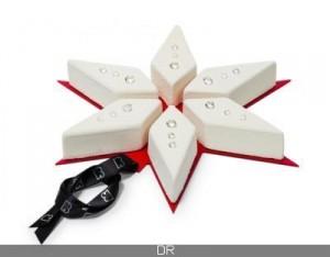 Prédécoupée en parts formant une étoile ( au Burgundy)
