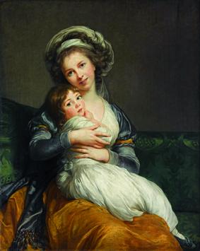 """Autoportrait d'Elisabeth Louise Vigée Le Brun avec sa fille, portrait aussi appelé """"la tendresse maternelle"""" ( Louvre)"""