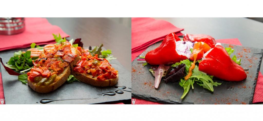 Influence basquo-espagnole pour la bruschetta et les poivrons