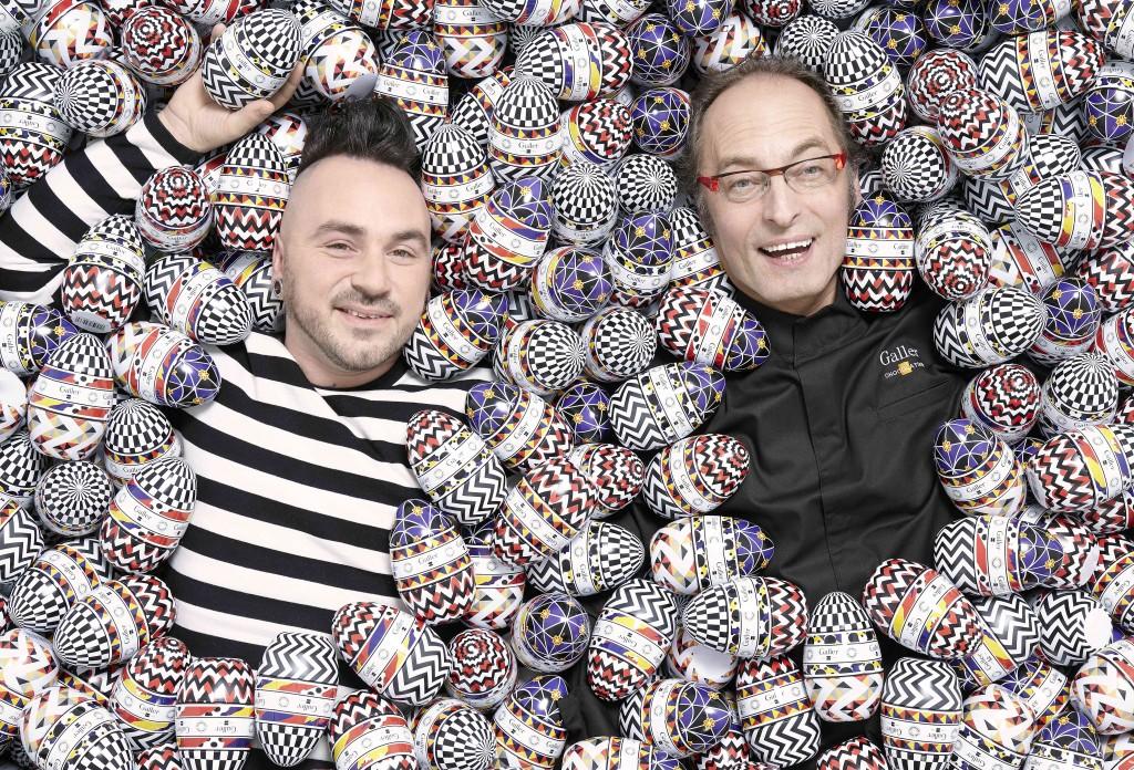 Le chocolatier et le styliste au milieu des oeufs collector