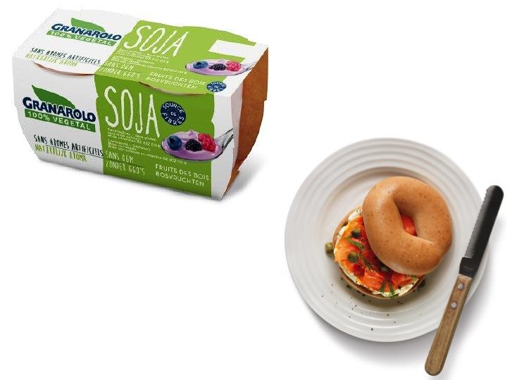 Bagels sans gluten et yaourt au soja