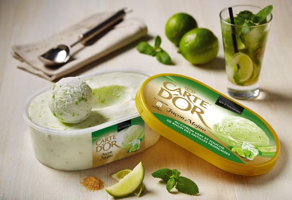 Surfant sur l'incroyable succès du mojito, la glace Carte d'Or aux saveurs de ce cocktail