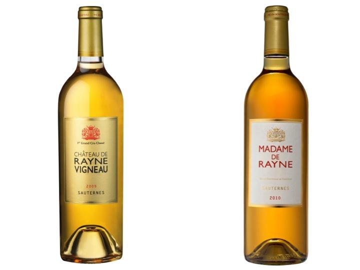 Deux sauternes du domaine Rayne Vigneau à la robe or