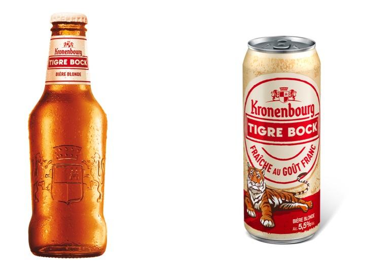 Canette et bouteille de Tigre Block Kronenbourg
