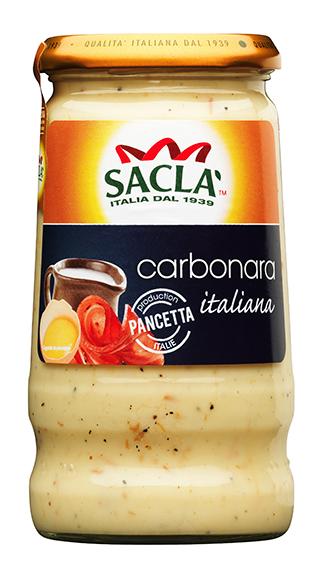 Une sauce blanche de Sacla pour des pâtes carbonara