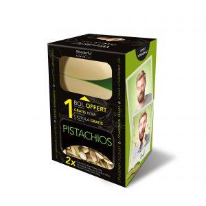 Un coffret malin avec boîte pour recueillir les coques vides des pistaches